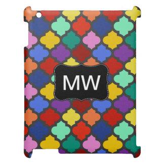 Buntes Quatrefoil Gitter-Gitter-Monogramm iPad Hülle