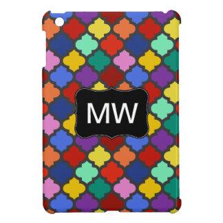 Buntes Quatrefoil Gitter-Gitter-Monogramm iPad Mini Hülle