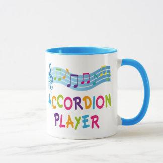 Buntes Regenbogen-Akkordeon-Spieler-Geschenk Tasse