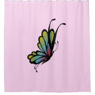 Buntes Regenbogen-Schmetterlings-Rosa Duschvorhang