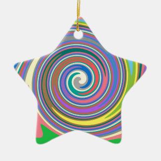 Buntes Regenbogenstrudelmuster Keramik Ornament