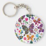 Buntes Retro Schmetterlings-und Blumen-Muster Standard Runder Schlüsselanhänger