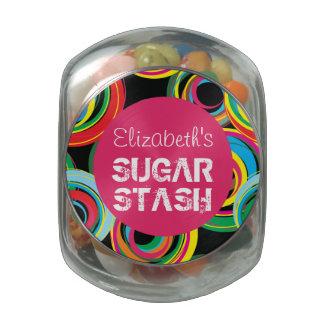 Buntes Retro Zuckerversteck-Glas des Glasdosen
