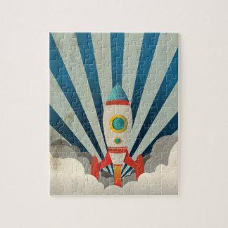 Buntes Rocket mit blauen Strahlen und weißem Puzzle