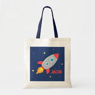 Buntes Rocket-Schiff, Weltraum, für Jungen Budget Stoffbeutel