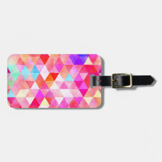 Buntes rosarotes Aquarell-Dreieck-Muster Gepäckanhänger