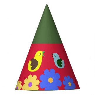 Buntes Rot-Grünes Tier stellt Partyhut dar
