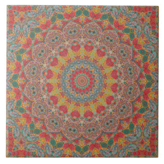 Buntes rotes Goldblaues Mandala-Kaleidoskop Keramikfliese