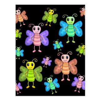 Buntes Schmetterlingsmuster Postkarte