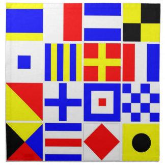Buntes Seesignal-Flaggen-Muster Stoffserviette