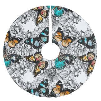 Buntes Skizzemuster der Blumenschmetterlinge Polyester Weihnachtsbaumdecke