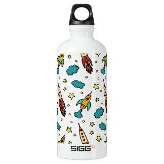 Buntes spaceshuttle im Universum Wasserflasche