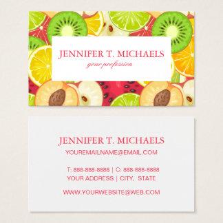 Buntes Spaß-Frucht-Muster Visitenkarte