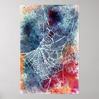 buntes Spinnennetz Poster