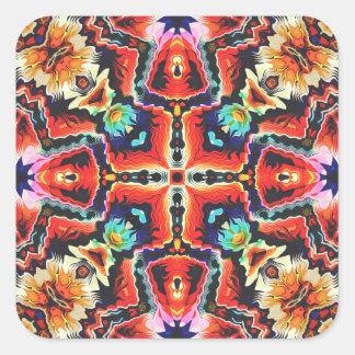 Buntes Stammes- Muster Quadratischer Aufkleber