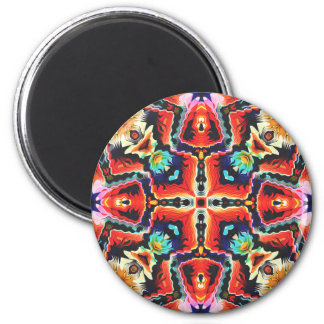 Buntes Stammes- Muster Runder Magnet 5,7 Cm