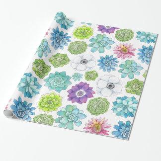 Buntes Succulents-und Blumen-Verpackungs-Papier Geschenkpapier
