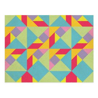 Buntes Tangram-Muster Postkarte