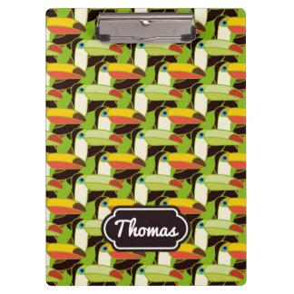 Buntes Toucans | addieren Ihren Namen Klemmbrett
