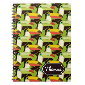 Buntes Toucans | addieren Ihren Namen Spiral Notizblock
