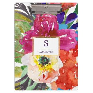 Buntes tropisches Aquarell mit Blumen mit Klemmbrett