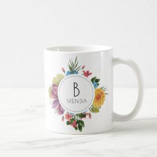 Buntes tropisches Blumen-Blumenstrauß-Monogramm Kaffeetasse