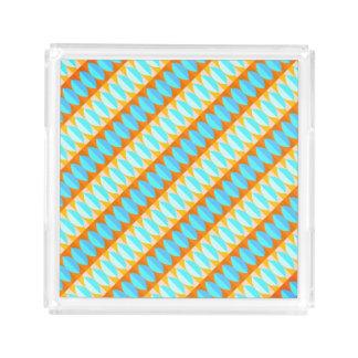 Buntes Türkis-Blau-orange Gelb-Muster Acryl Tablett