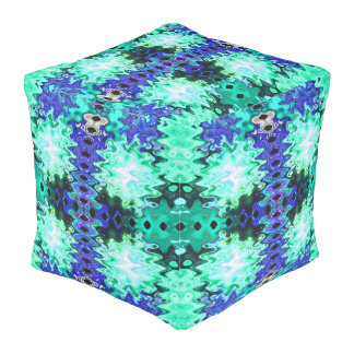 Buntes Türkisblau abstrakt Hocker