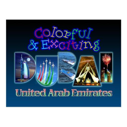 Buntes und aufregendes Dubai Postkarte