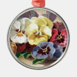Buntes Vintages Stiefmütterchen-erstklassige runde Rundes Silberfarbenes Ornament