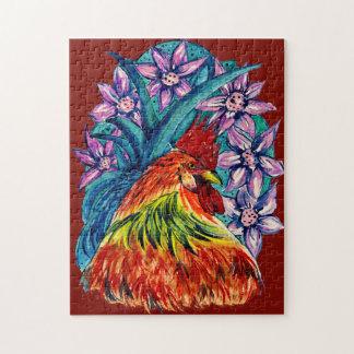 Buntes Wasserfarbe-Jahr der Hahn-Laubsäge Puzzle