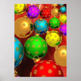 Buntes Weihnachtsverzierungs-Fest Poster