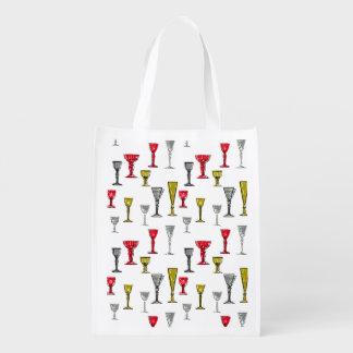 Buntes Wein-Glas-Muster Wiederverwendbare Einkaufstasche