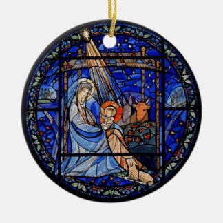 Buntglas-Art-Geburt Christi im Blau Keramik Ornament