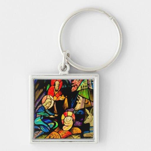 Buntglas-Art-Geburt Christi Schlüsselbänder