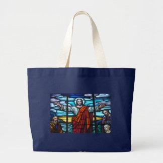 Buntglas-Fenster-Jesus Christus-Tasche Jumbo Stoffbeutel