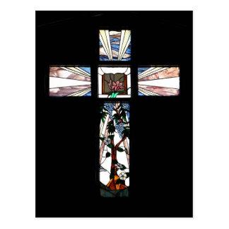 Buntglas-Kreuz - Postkarte