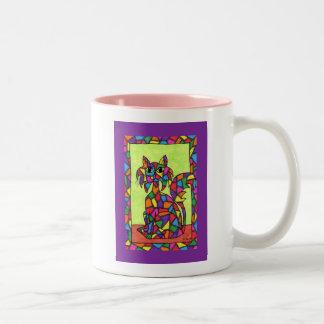 Buntglas-Miezekatze Zweifarbige Tasse