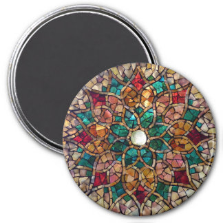 "Buntglas-Mosaik-Magnet ""Herbst-Stern "" Runder Magnet 7,6 Cm"