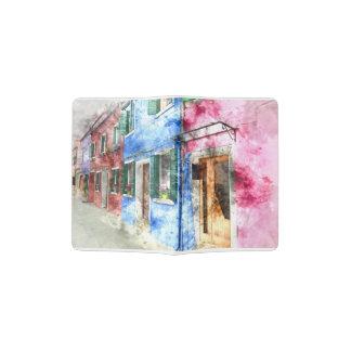 Burano Italien Gebäude - Digital-KunstWatercolor Passhülle