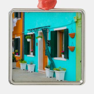 Burano Italien Gebäude nähern sich Venedig Quadratisches Silberfarbenes Ornament