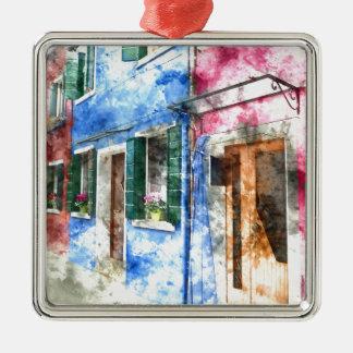 Burano Italien Gebäude Quadratisches Silberfarbenes Ornament