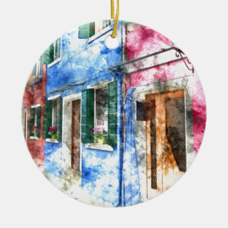 Burano Italien Gebäude Rundes Keramik Ornament
