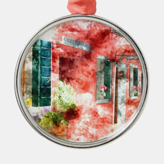 Burano Italien Gebäude Rundes Silberfarbenes Ornament
