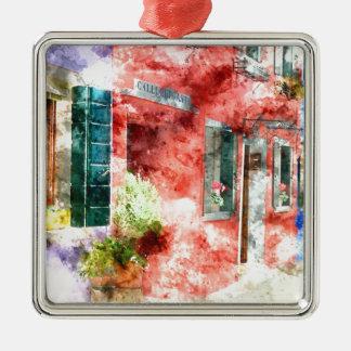 Burano Italien Gebäude Silbernes Ornament