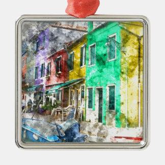 Burano Italien nahe Venedig Italien Quadratisches Silberfarbenes Ornament
