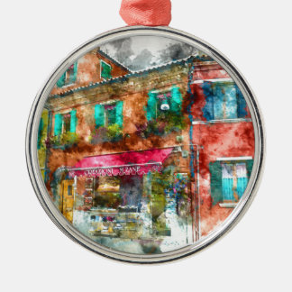 Burano Italien nahe Venedig Italien Rundes Silberfarbenes Ornament