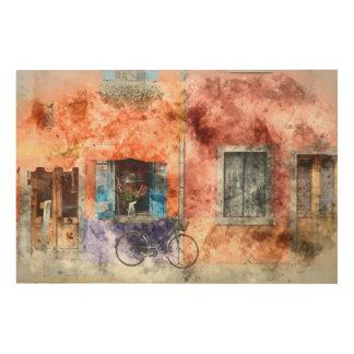Burano nahe Venedig Italien Holzleinwand