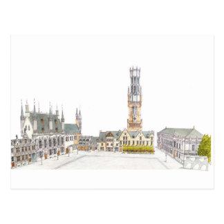 Burg-Quadrat. Brügge Belgien Postkarte