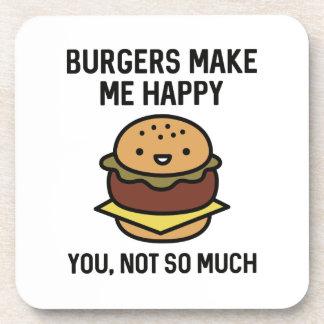 Burger machen mich glücklich getränkeuntersetzer